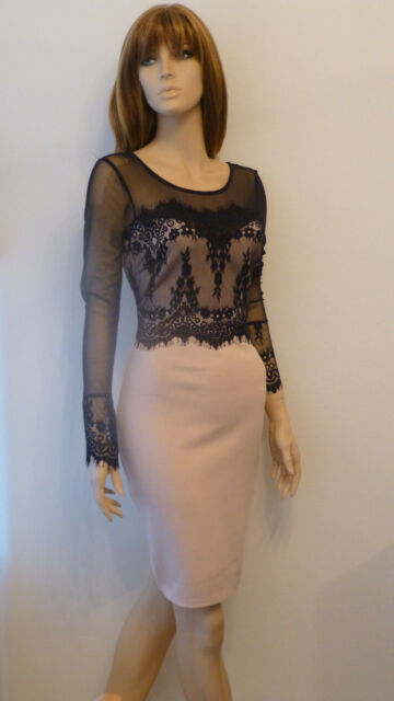 BNWT Lipsy Bodycon Nude/ Black Lace Party Evening Cruise Dress