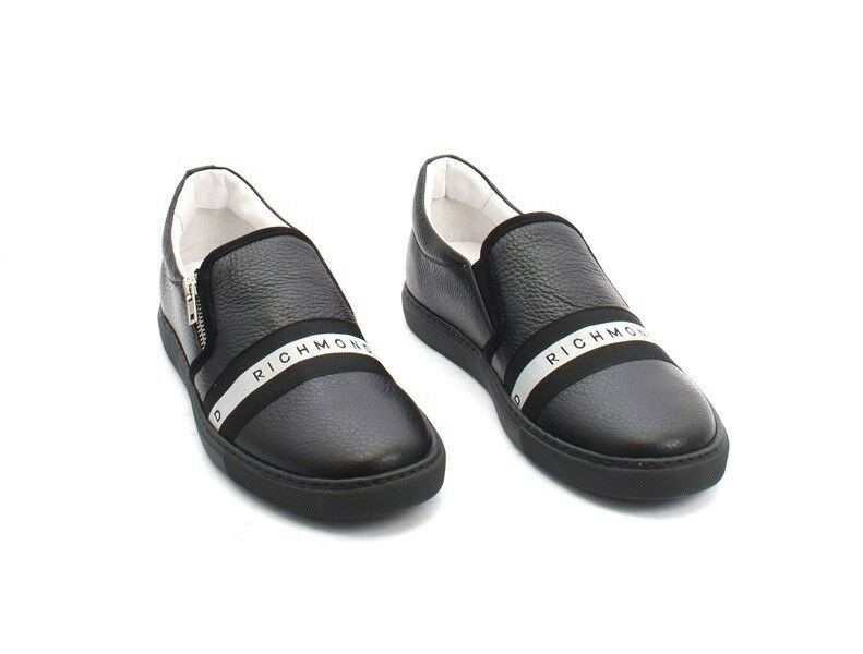 8440b735f9f5 ... John Richmond 5214 Black Black Black   White Leather Loafers Sneakers  Shoes 43   US 10 ...