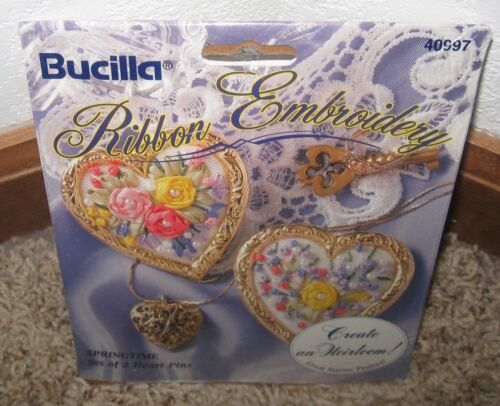 BUCILLA RIBBON EMBROIDERY SPRINGTIME SET OF 2 HEART PINS KIT #40997~~NIP