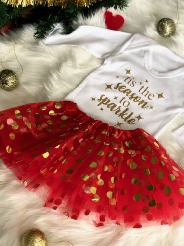 BABY/'S CHRISTMAS OUTFIT SET White LS Romper Red Tutu and HB Gold Season Sparkle