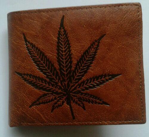 SOFT LEATHER Bifold Wallet Logo Cannabis Marijuana Weed POT FOGLIA FPP UK