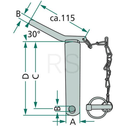 Unterlenker Bolzen Unterlenkerbolzen Dreipunkt Kat 1 Nutzlänge 310 mm 200129115