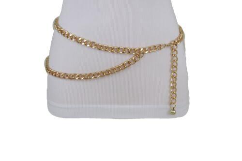 Women Belt Black Silver Gold Metal Chain Link Hip Waist Fashion XS S M L XL XXL