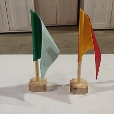 FLAGS with DOWEL ROD & WOOD STAND, HIGH QUALITY, 10 SETS, GREAT DEAL!