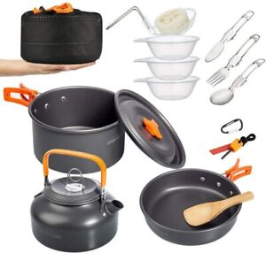 Overmont Camping Cookware Set Outdoor Cooking Mess Kit Pots Pan for Backpacking