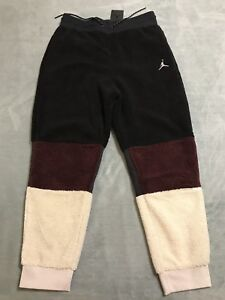a1991efd7840be Nike Jordan Sportswear Sherpa Pants Men s sz LARGE L Black Burgundy ...