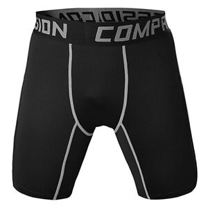 51bd19a46df8 Men s Sports Gym Compression Wear Shorts Pants Black+Gray Line ...