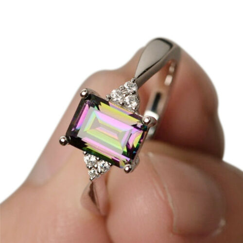 Rainbow Topaz Engagement Wedding Band Ring Crystal Silver Plated Ring JewelrAB