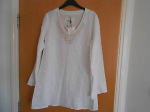 Ladies-Malvin-Linen-Pearl-and-Bead-Tunic-Style-Top-White-Size-14-BNWT