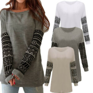 Autumn-Ladies-Womens-Casual-Tops-Blouse-Long-Sleeve-Crew-Neck-Print-T-Shirt-Tee