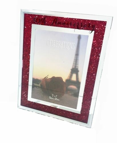 25TH 40TH 50TH 60TH WEDDING ANNIVERSARY PHOTO FRAME CRYSTALS DIAMANTE GIFT BOXED