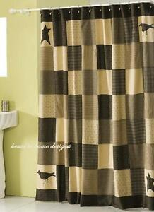 Image Is Loading KETTLE GROVE SHOWER CURTAIN BLACK STAR TAN PRIMITIVE