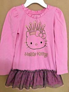 cbc963a66 EUC Hello Kitty Girls Shirts Size 4 Pink/Black Gold Glitter Long ...