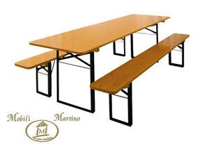 Set birreria tavolo e panche richiudibile giardino in legno october fest ebay - Tavolo e panche da giardino ...
