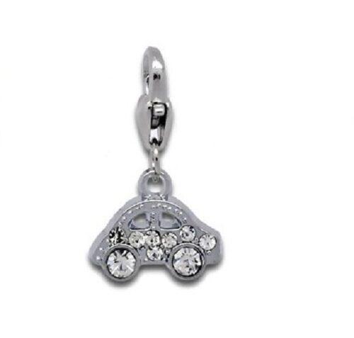 Strass plaqué argent clip sur bracelet charme choix de designs