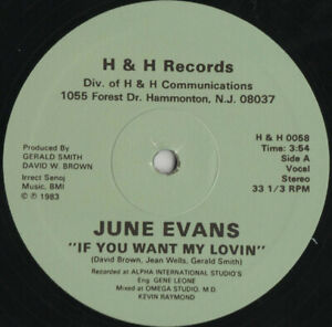 """JUNE EVANS """" IF YOU WANT MY LOVIN' """" NEW 12 DANCE DISCO SOUL FUNK BOOGIE"""