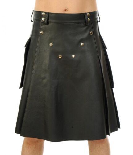 New Genuine leather Kilt studded Side Pockets Flared Kink Fetish Cultural Mens