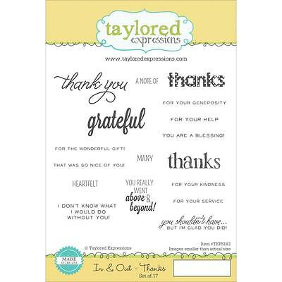 Taylored Expressions IN & OUT THANKS Cling Stamp Set TEFS183