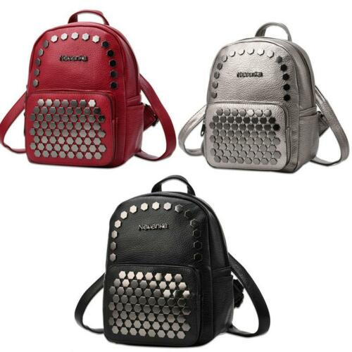 Women School Bags Leather Fashion Backpack Preppy Style Adjustable Straps Preppy