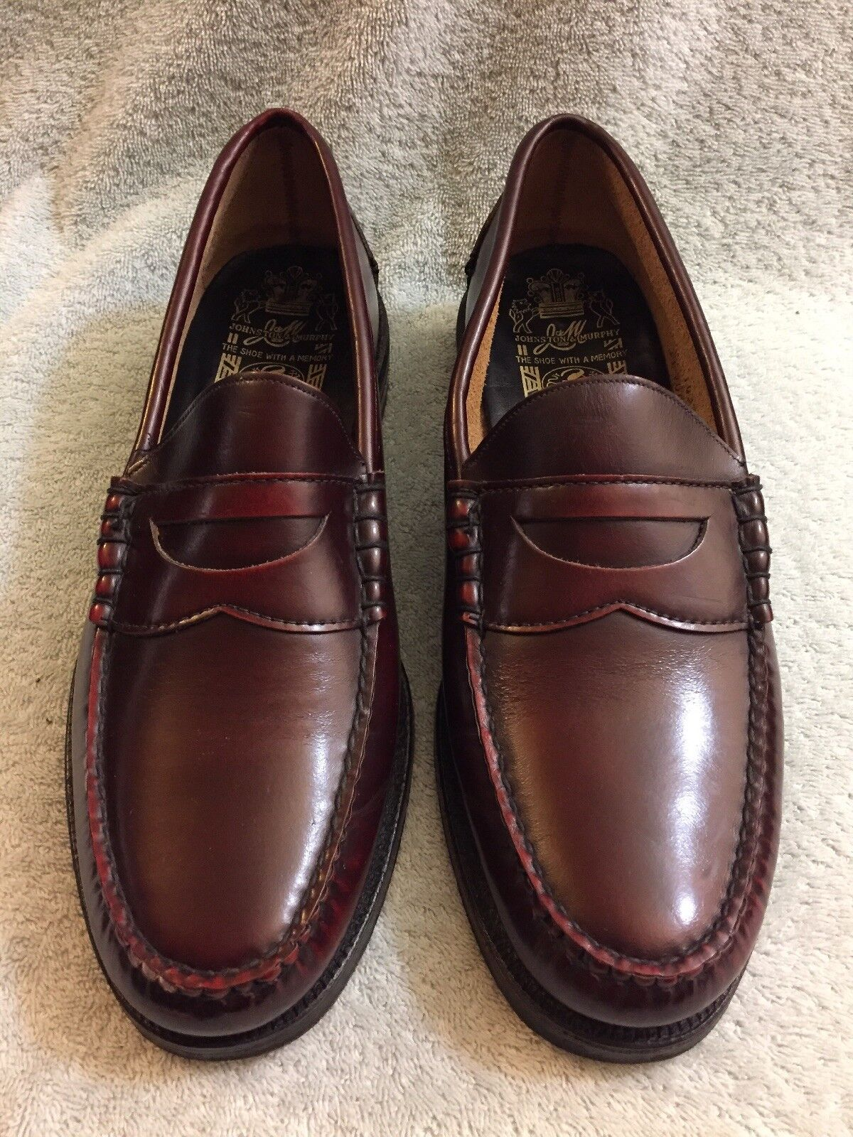 Johnston Murphy Aristocraft Penny Loafers Burgundy Moc Toe shoes USA Men's 10D B
