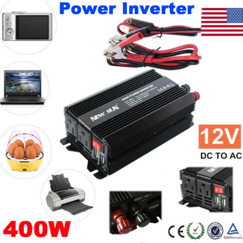 400W Car Power Inverter DC 12V to AC 110V Power Charger 2 Outlets 2 USB 3.1A 5V