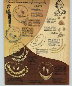 1959 Paper Ad Coro Costume Jewelry Earrings Necklace Pearls Golden Leaf Silver Ebay