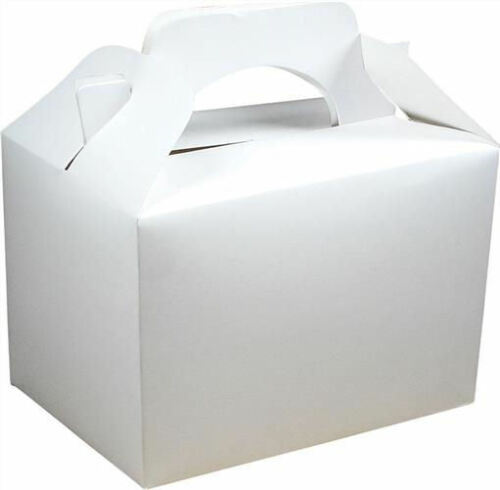 Food Loot Lunch Cardboard Gift Wedding//Kids 20 White Party Boxes