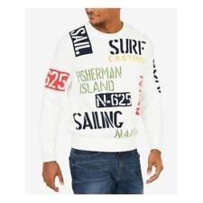 Nautica White Ivory Mens Size Large L Crewneck Sail Surf Sweater #388