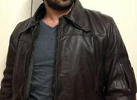 Hot Fashion Mens Genuine Sheepskin Leather Jacket Motorbike Hunt Winter Jacket