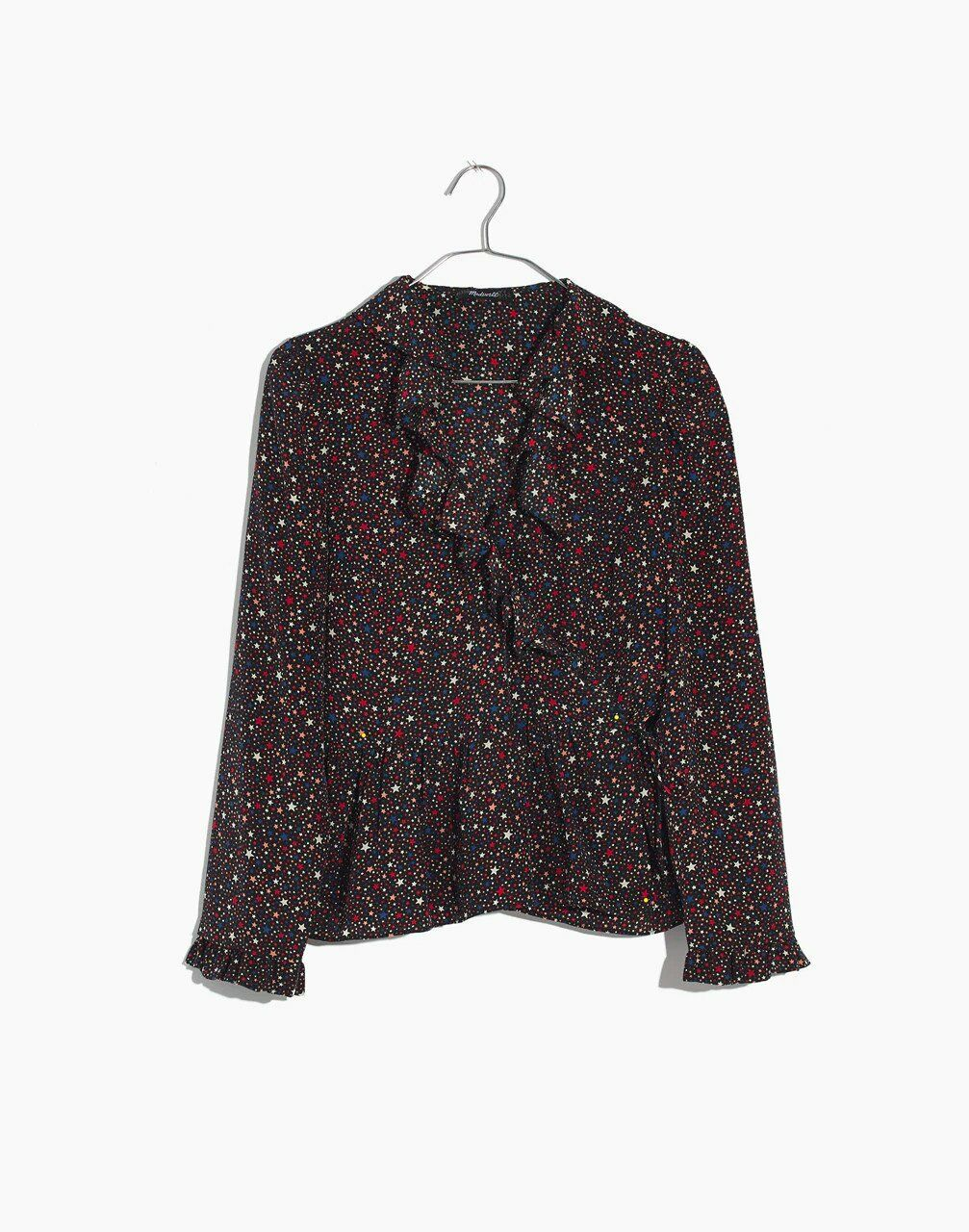 damen Madewell Silk Ruffle Hem Wrap Top In Starry Night Größe 2X
