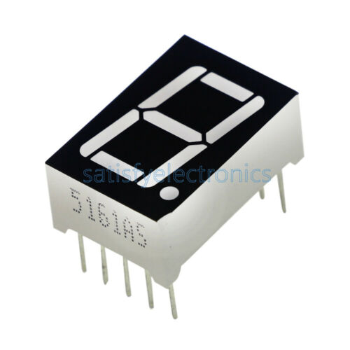 "10PCS NEW Red 7 Segment 0.5/"" LED Display Digital Tube Common Anode 1 Bit"