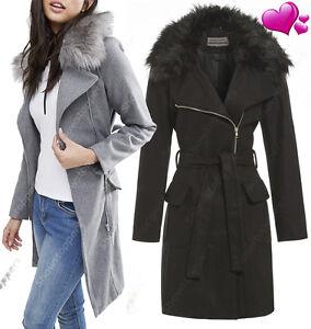 Manteau en laine col fourrure femme