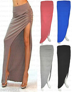 Ruched-High-Side-Split-Full-Length-Ladies-Long-Gypsy-Maxi-Skirt-Womens-Size-8-14