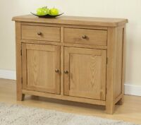 Burnham Solid Chunky Wood Rustic Oak Medium Sideboard Cupboard Cabinet Unit