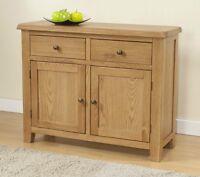 Burnham Solid Chunky Wood Rustic Oak Medium Sideboard Cupboard Cabinet Unit