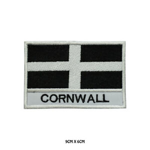 CORNWALL County Flag With Name Embroidered Patch Iron on Sew On Badge