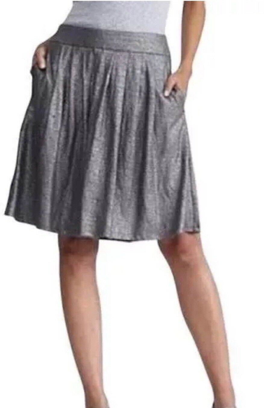LARGE NWT   228 Eileen Fisher Ash Organic Linen Jersey Shimmer Pleated K L Skirt