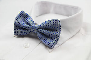 MENS-LIGHT-BLUE-POLKA-DOT-BOW-TIE-Pretied-Adjustable-Tuxedo-Formal-Wedding-SALE