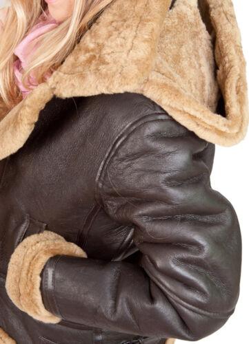 montone pelliccia pelle di in di da in zenzero e con Giacca pelle marrone uomo cappuccio xSRw4Fx0q