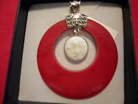 Artisan Crafted Carved Bone Image & Sponge Coral Pendant In 925 Sterling Silver