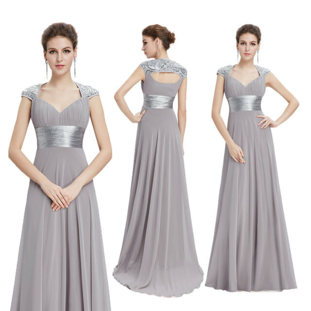 Ever-Pretty US Long Grey Chiffon Formal Evening Dresses V-Neck Party Gown 09672