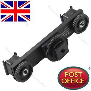 Hot-Shoe-Extension-Bar-Mount-Dual-Bracket-For-DV-Video-Camera-LED-Light-SLR-Rig