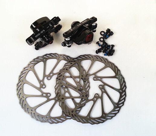 Mechanical Disc Brake MTB Bike Bicycle Front Rear Caliper Rotors 160mm Bolts Set