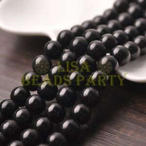 10pcs-12mm-Round-Natural-Stone-Loose-Gemstone-Beads-Black-Agate