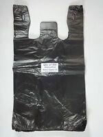 500 Qty. Black Plastic T-shirt Retail Shopping Bags W/ Handles 11.5 X 6 X 21