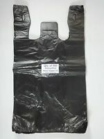 500 Qty. Black Plastic T-shirt Retail Shopping Bags W/ Handles 11.5 X 6 X 21