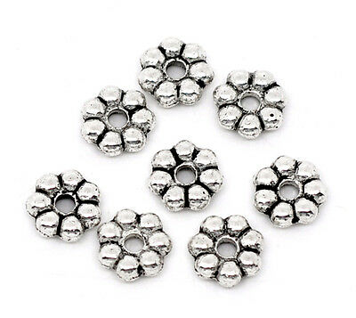 300 Perles Intercalaires en forme de Fleur 6x2mm