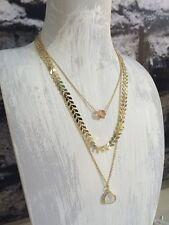 Layered Gold 3 strand necklace choker leaf chain, geometric cube & drop pendant