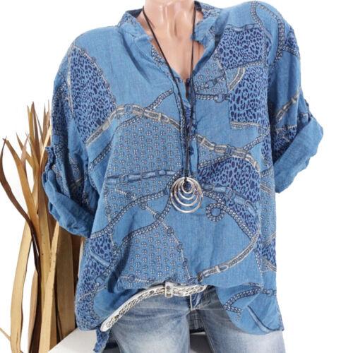Damen Blumen Hemdbluse Ausgebeult shirt Sommrtbluse Übergröße Lose Longtop Tops