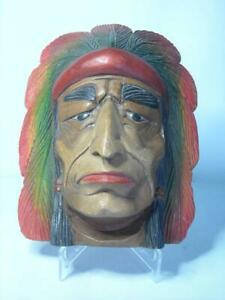 """Native American Indian TREEN HEAD Wooden Wall Plaque Wood Painted Face 9.4"""" 24cm"""